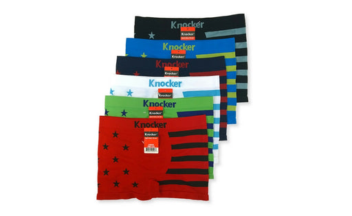 Knocker's Junior's Athletic Seamless Compression Boxer Briefs (12 Pack) STAR N STRIPES