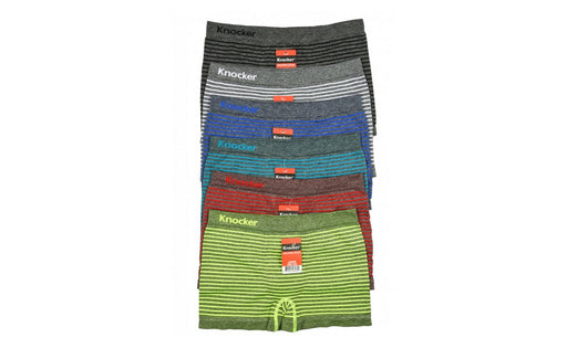 Knocker's Junior's Athletic Seamless Compression Boxer Briefs (6 Pack) ALT STRIPES