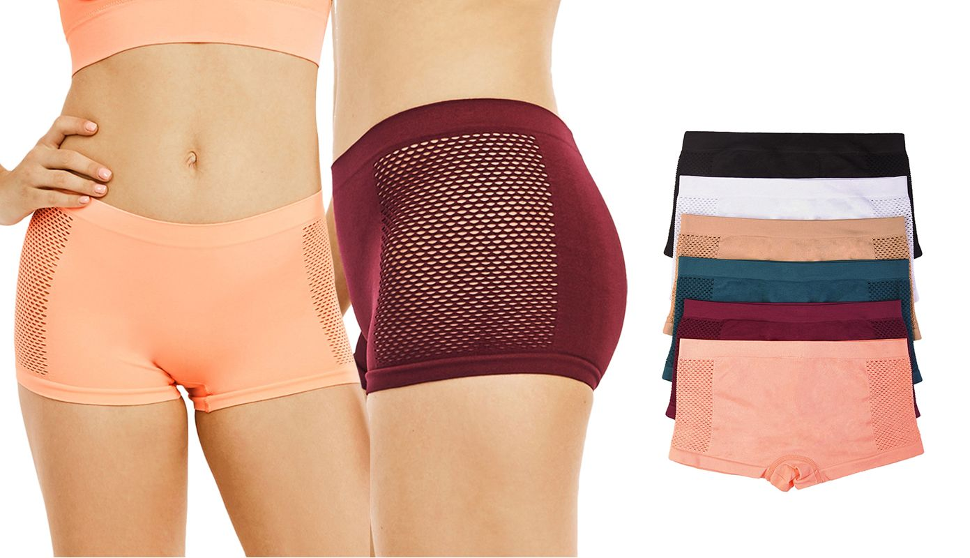 Blanca Women's Seamless Spandex Airmesh Boyshort Panties (6 Pack) LP0234SB1