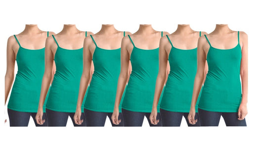 Mint Green Women's Slimming Camisoles with Adjustable Straps (6-Pack)