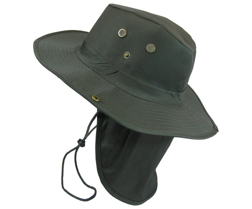 Boonie Bush Outdoor Fishing Hiking Hunting Boating Snap Brim with Flap OLIVE