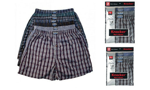 Knocker Men's Classic Plaid Boxer Shorts ( 3 Pack )