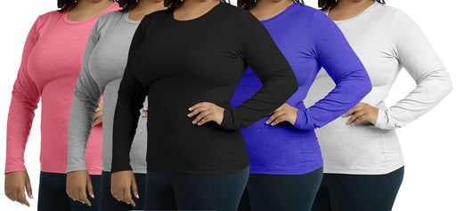 Women's Plus-Size Long-Sleeved Crew-Neck Tee