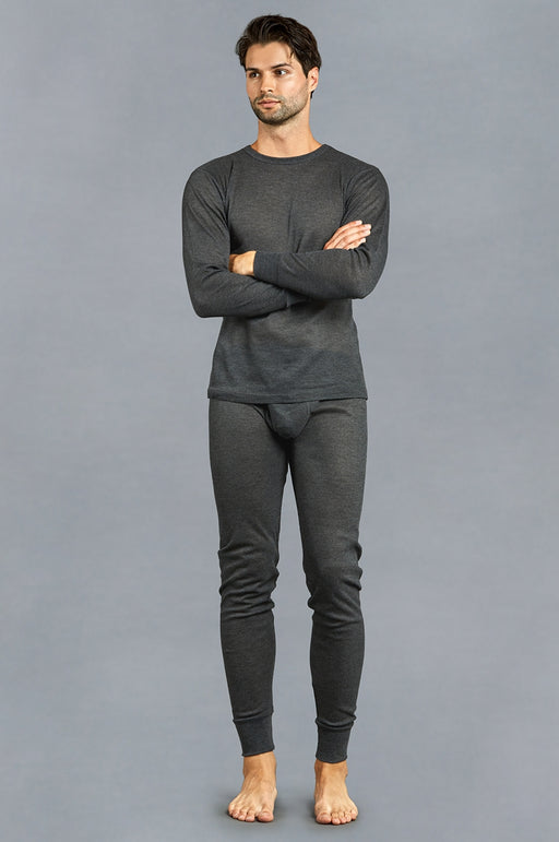 Knocker's Men's 2pc Long Thermal Underwear Set - CHARCOAL GREY
