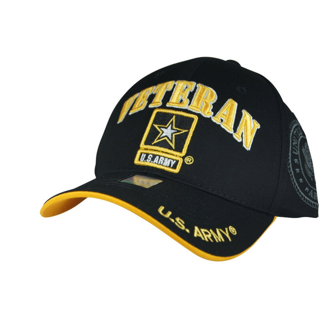 Official Licensed Military U.S.ARMY VETERAN Cap/Hat Embroidered Black
