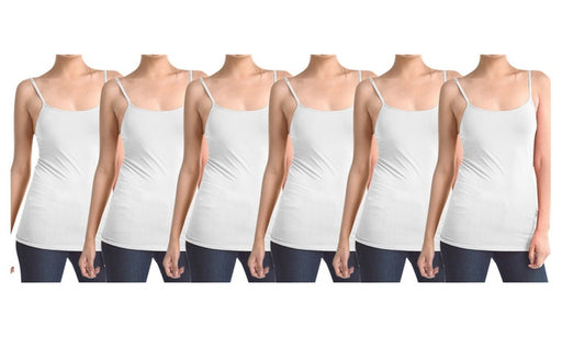 Milk White Women's Slimming Camisoles with Adjustable Straps (6-Pack)