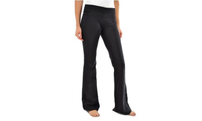 Blanca Basics Women's Cotton Boot Cut Flared Yoga Pants BLACK