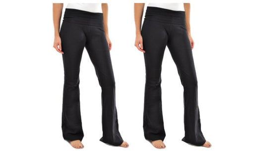 Yoga Pants for Women Blanca Black Cotton Boot Cut Flared  (2 Pack)