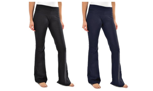 Blanca Basics Women's Cotton Boot Cut Flared Yoga Pants Black / Navy (2 Pack)