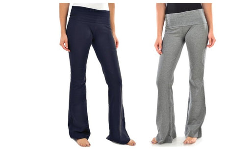 Blanca Basics Women's Cotton Boot Cut Flared Yoga Pants Grey / Navy  (2 Pack)
