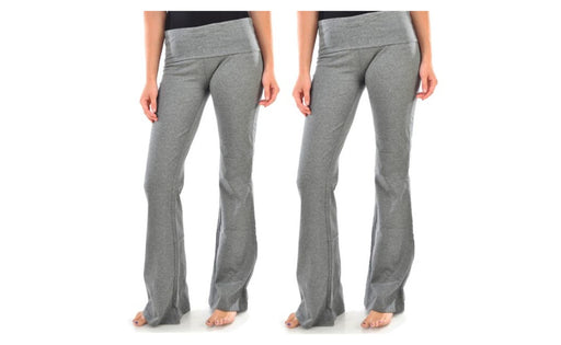 Women's Yoga Pant Blanca Boot cut Flared Grey Color(Pack Of 2)