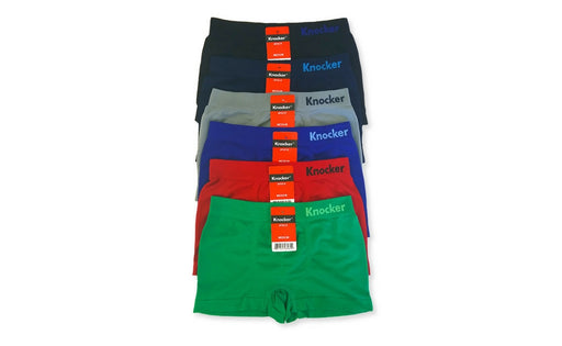 Knocker Boys Boxer Shorts Seamless Briefs Kids Soft Underwear (6 Pack) SOLIDS