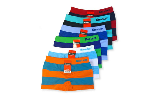 Knocker Boys Boxer Shorts Seamless Briefs Kids Soft Underwear (6 Pack) STRIPES WIDE