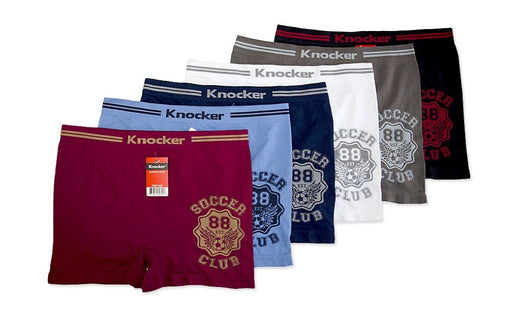 Knocker's Men Athletic Seamless Boxer Briefs (6 Pack) CLUB SOCCER