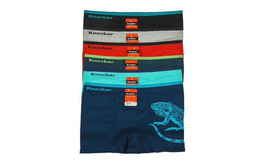 Knocker's Men Athletic Seamless Boxer Briefs (6 Pack) IGUANA