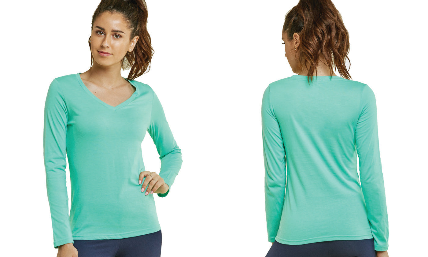 Women's Lightweight Long-Sleeve Stretch Tees V Neckline