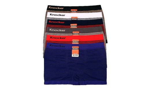 Knocker's Men Athletic Seamless Boxer Briefs (6 Pack) MSTRIPES