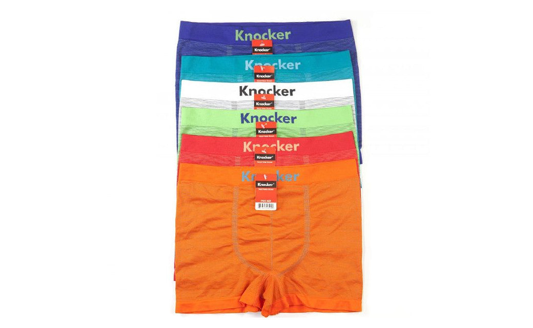Knocker's Men Athletic Seamless Boxer Briefs (6 Pack) PIN STRIPES