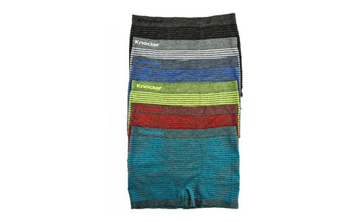 Knocker's Men Athletic Seamless Boxer Briefs (12 Pack) Q STRIPES