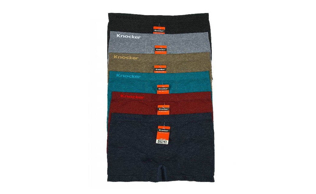 Knocker's Men Athletic Seamless Boxer Briefs (6 Pack) SOLIDS