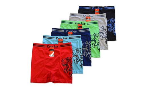 Knocker's Men Athletic Seamless Boxer Briefs (6 Pack) TIGER