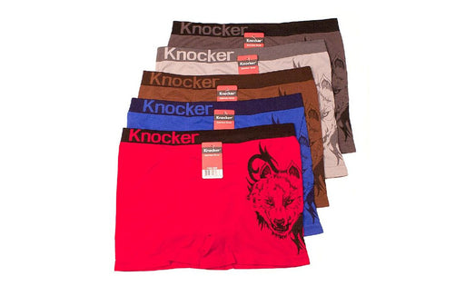 Knocker's Men Athletic Seamless Boxer Briefs (6 Pack) WOLF