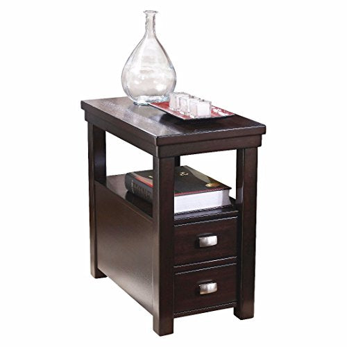 Contemporary Narrow Nightstand Wooden Espresso Wenge Chair Side End Table with 2-Storage Drawer
