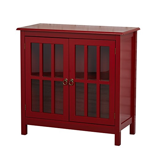 Contemporary Wood 2 Door Storage Cabinet with Tempered Glass and 2 Shelves