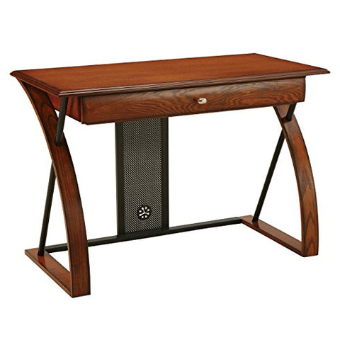 Modern Transitional Metal Oak Wood Computer Art Desk with Arched Intersect Leg and Keyboard Tray
