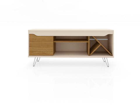 Modern TV Stand with Wine Rack and  Splayed Metal Legs in Off White and Cinnamon