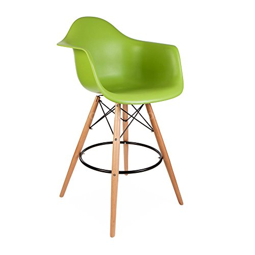 ModHaus Mid Century Modern Eames DAW Style Green Counter Stool with Dowel Wood Base HIGH QUALITY Satin Finish