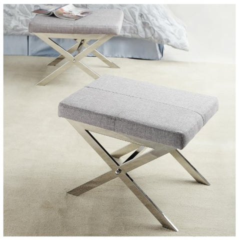 Modern Gray Fabric Upholstered and Chrome X Base Accent Bench Stool Ottoman Footrest