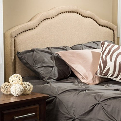 Modern Arch Upholstered Padded Beige Tan Linen Fabric Queen Headboard with Copper Nailheads