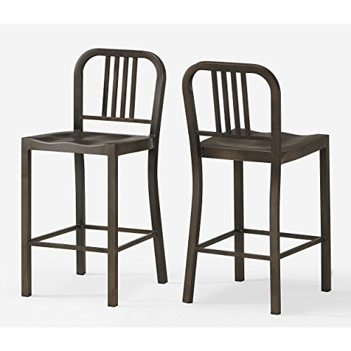 ModHaus Set of 2 Bronze Metal Counter Stools with Back in Glossy Powder Coated Finish