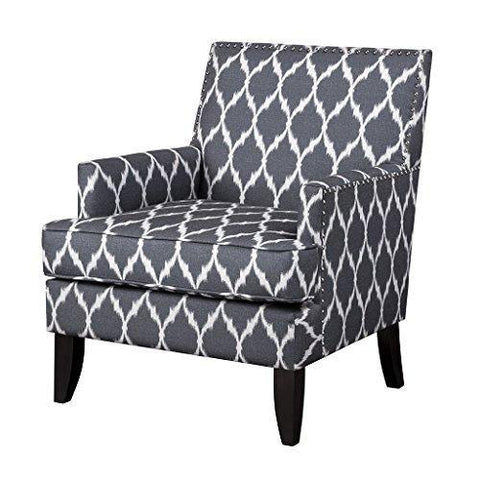 Contemporary Gray White Ikat Quatrefoil Print Upholstered Accent Armchair with Dark Wood Legs and Nailhead Trim