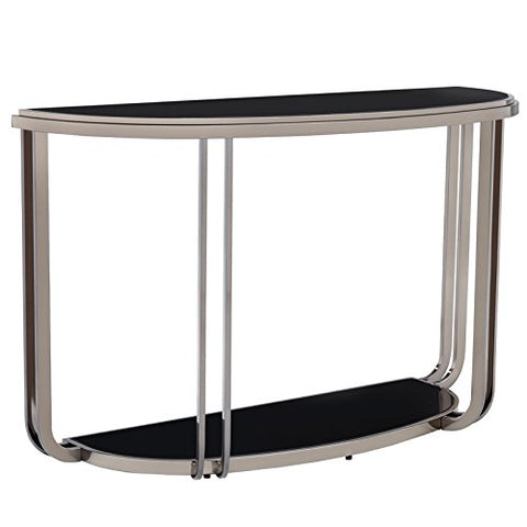 Modern Black Nickel Plated Console Sofa Table with Tempered Glass Top