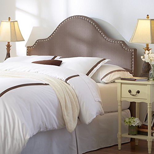 Modern Arch Upholstered Padded Brown Linen Fabric Queen Headboard with Nailheads