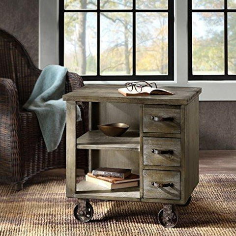 Rustic Industrial Distressed Accent Side End Table with 3 Drawers and Decorative Wheels