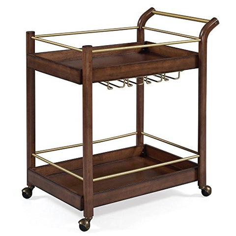 Mid Century Modern Kitchen Bar Serving Rolling Wine Brown Wood Cart with Tray Top and Bottom Shelf