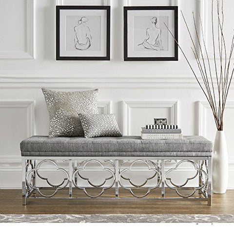 Contemporary Transitional Upholstered Entryway Bench with Quatrefoil Base (Gray Linen - Tufted Top)