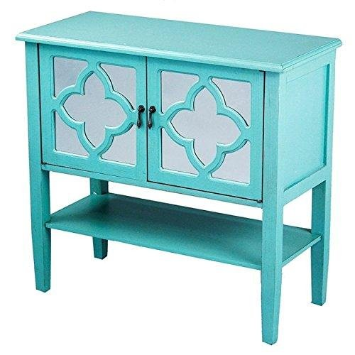 Contemporary Double-Door Wood Console Cabinet with 4-Pane Clover Mirror Insert and Bottom Shelf Home Decor