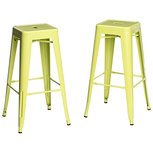 Set Of 2 Lime Green French Bistro Tolix Style Metal Bar