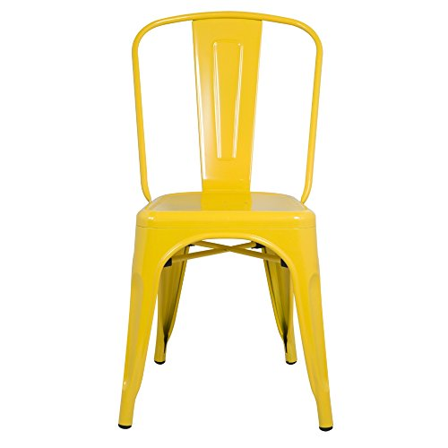 ModHaus Yellow Xavier Pauchard Tolix A Style Chair in Powder Coat Finish Galvanized Steel Metal Stackable