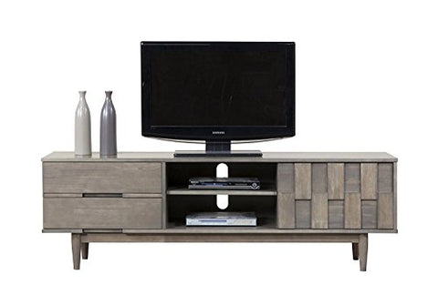 Mid Century Danish Style Wood 70 inch Media Console TV Stand in Rich Gray Finish with 2 Drawers (Gray)