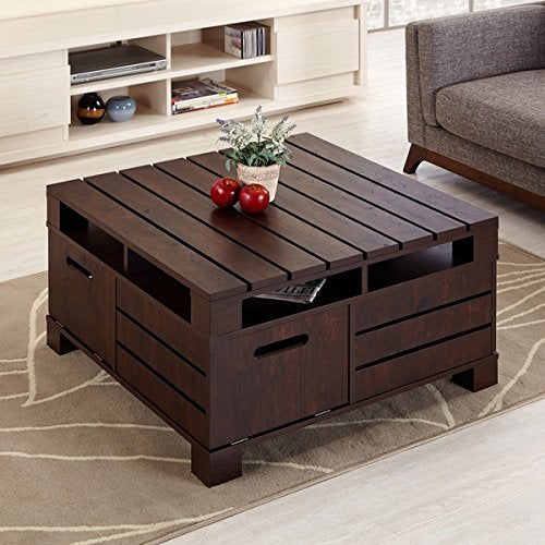 Vintage Casual Design Wood Coffee Cocktail Accent Table in Espresso Finish