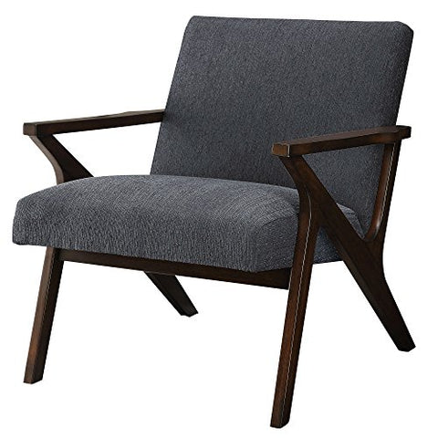 Mid Century Modern Wood Frame Upholstered Arm Lounge Accent Chair (Gray)
