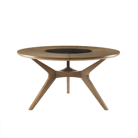 Mid Century Modern Wood 57 inch Round Dining Table in Camel Oak Finish with Integrated Lazy Susan