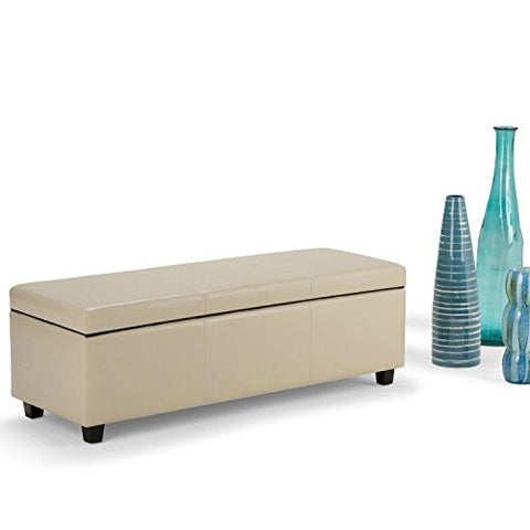 Modern Transitional Faux Leather Upholstery Storage Ottoman Bench with Solid Wood Frame (Cream)