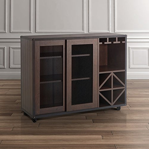 Modern Transitional Sliding Door Buffet Sideboards with Cabinet Open Shelves Bottle and Wine Glass Storage