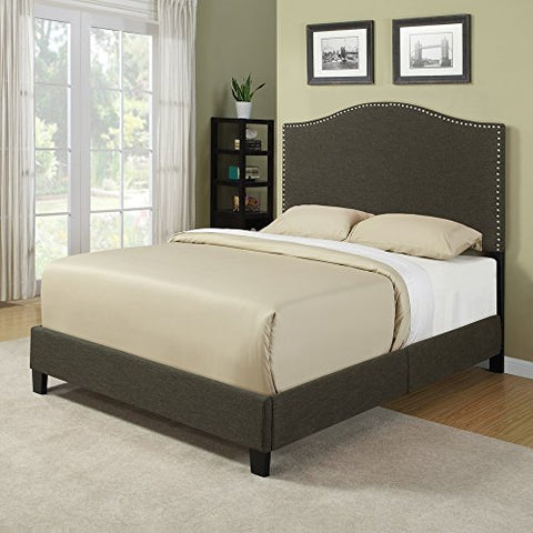 Modern Gray Arch Upholstered Padded Queen Headboard & Platform Bed with Silver Nailhead Accents